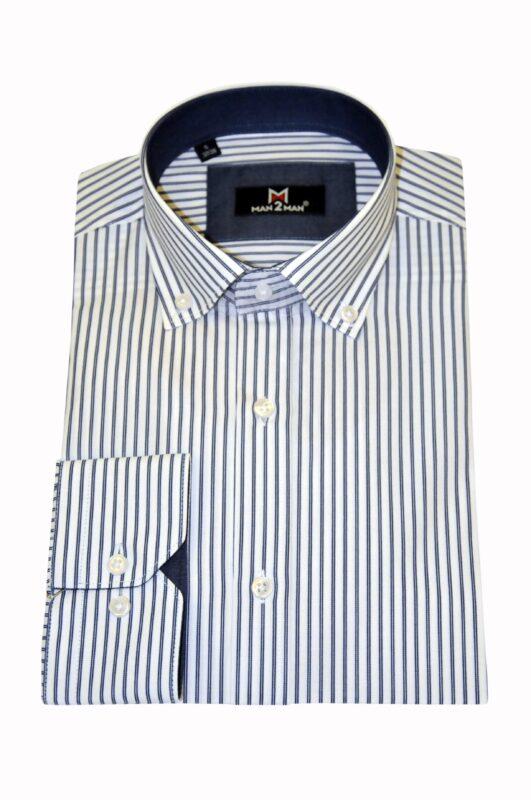 Λευκό-μπλε ριγέ βαμβακερό πουκάμισο MAN2MAN