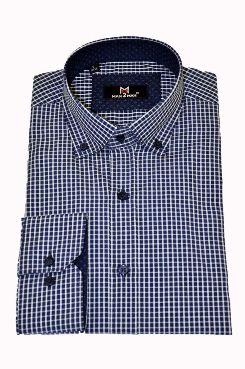 Μπλε-λευκό καρό βαμβακερό πουκάμισο MAN2MAN