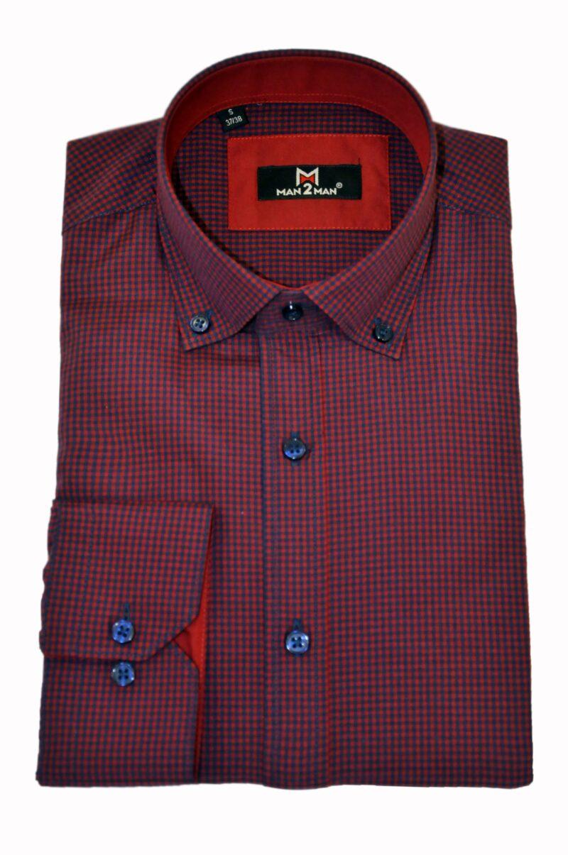 Μπορντό καρό βαμβακερό πουκάμισο MAN2MAN