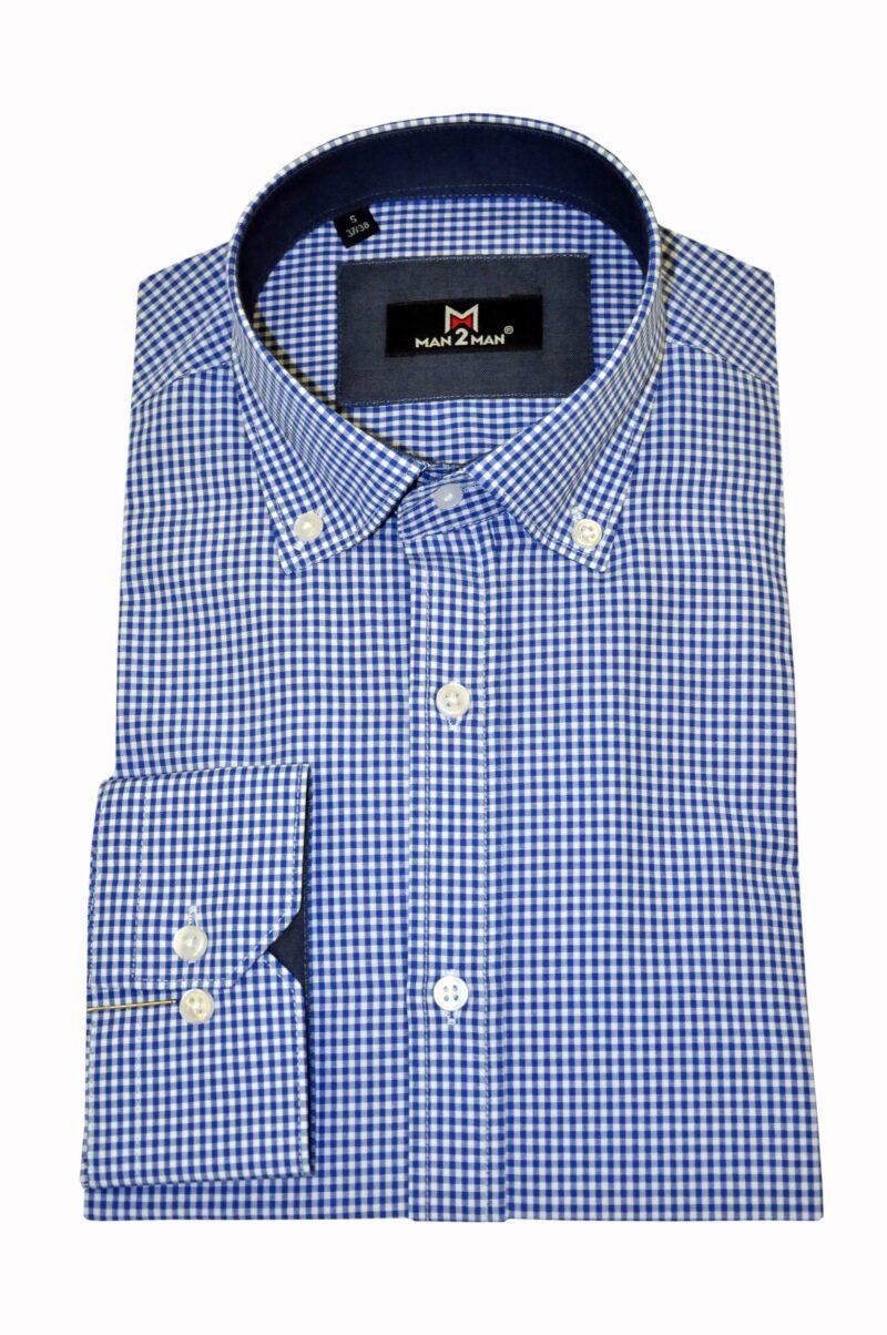 Μπλε καρό βαμβακερό πουκάμισο MAN2MAN