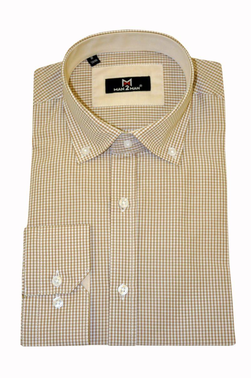 Μπεζ καρό βαμβακερό πουκάμισο MAN2MAN