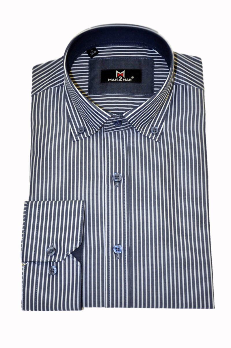 Μπλε σκούρο ριγέ βαμβακερό πουκάμισο MAN2MAN