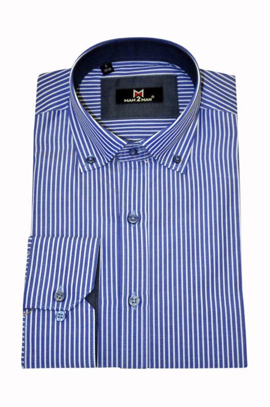 Μπλε ηλεκτρίκ ριγέ βαμβακερό πουκάμισο MAN2MAN