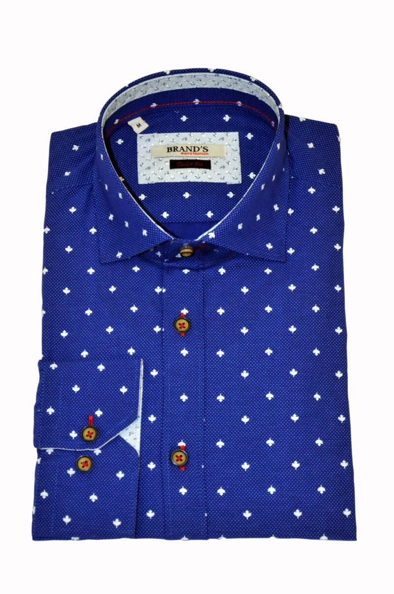 Μπλε εμπριμέ βαμβακερό πουκάμισο 40.129.004.01