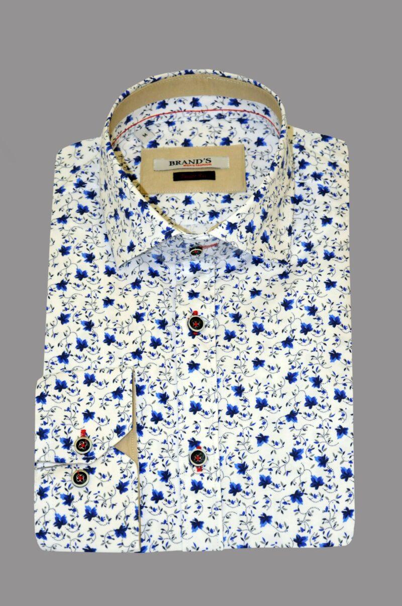 Λευκό-μπλε εμπριμέ βαμβακερό πουκάμισο