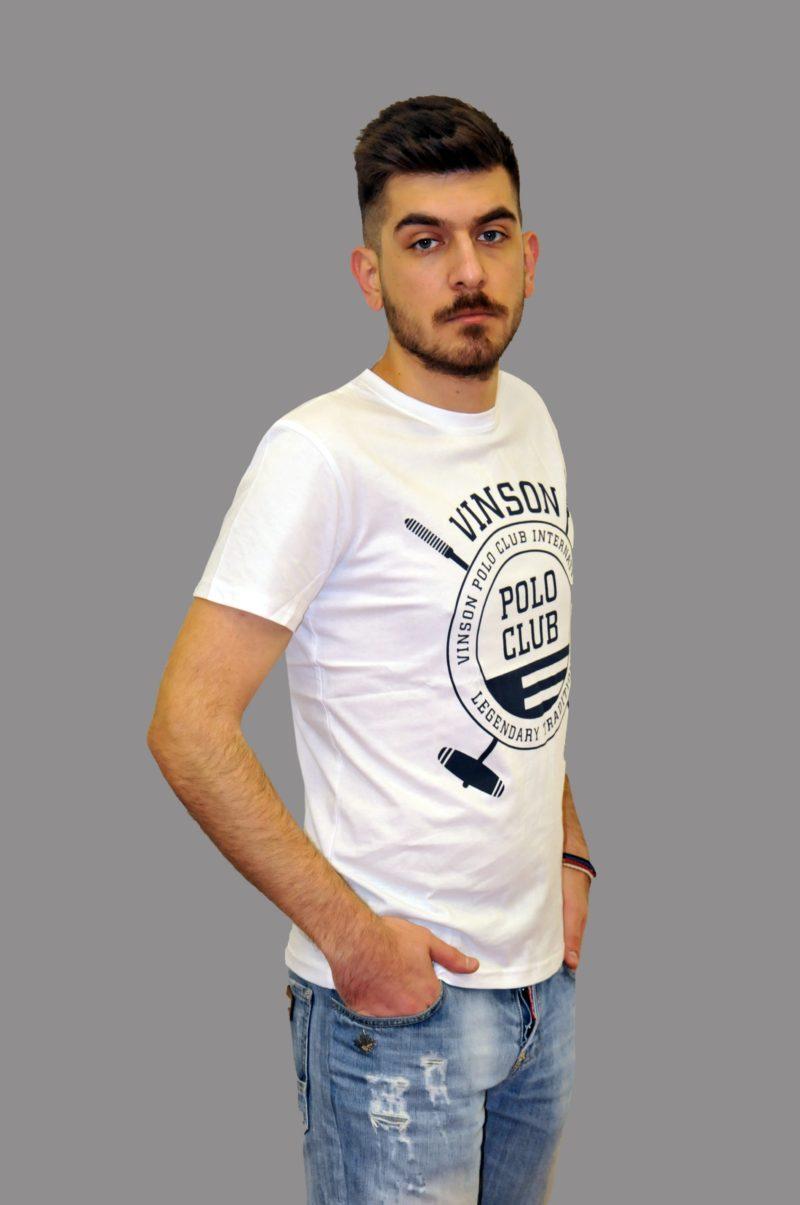 Λευκό βαμβακερό μπλουζάκι Polo Club Vinson