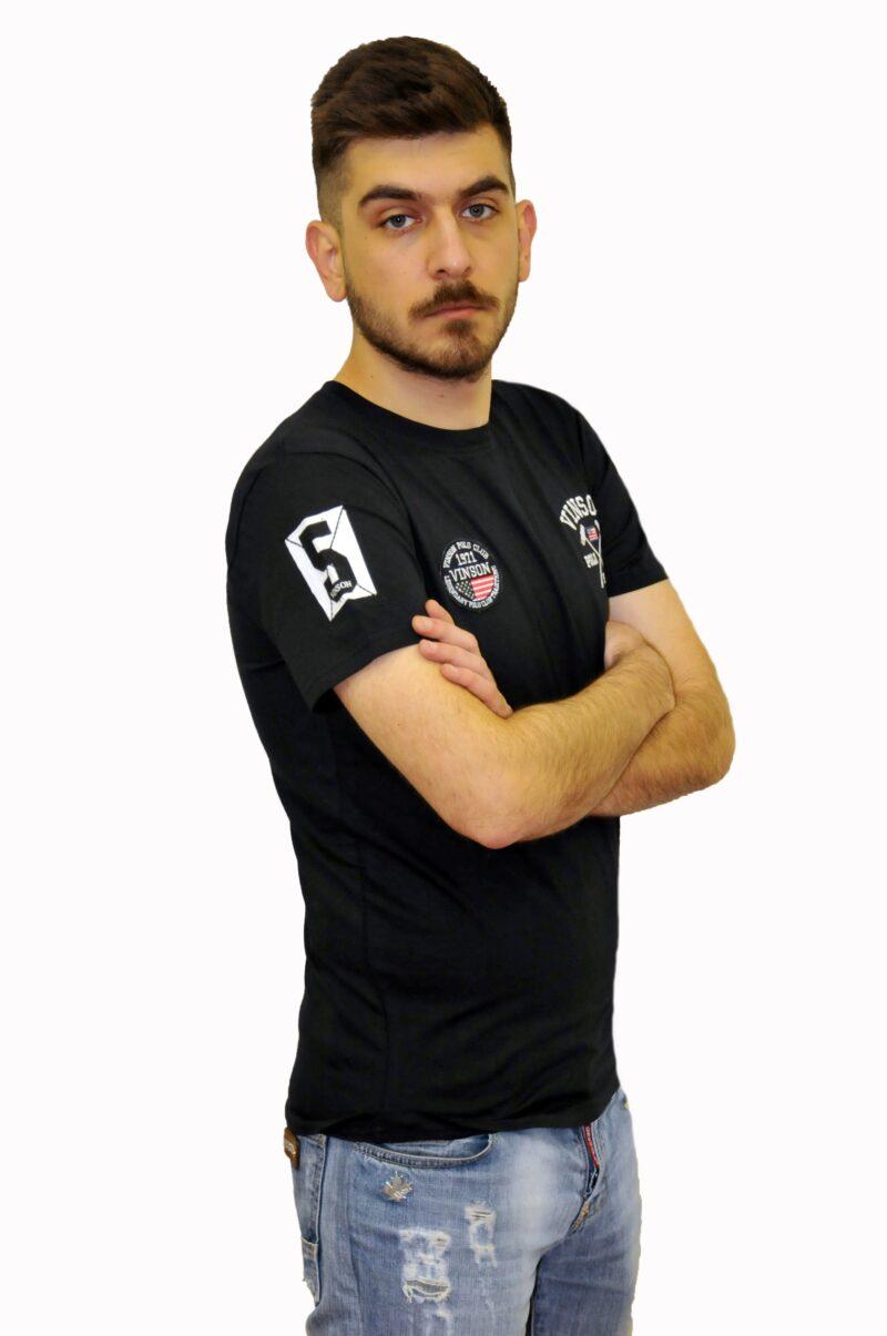 Μαύρο βαμβακερό μπλουζάκι Polo Club Vinson