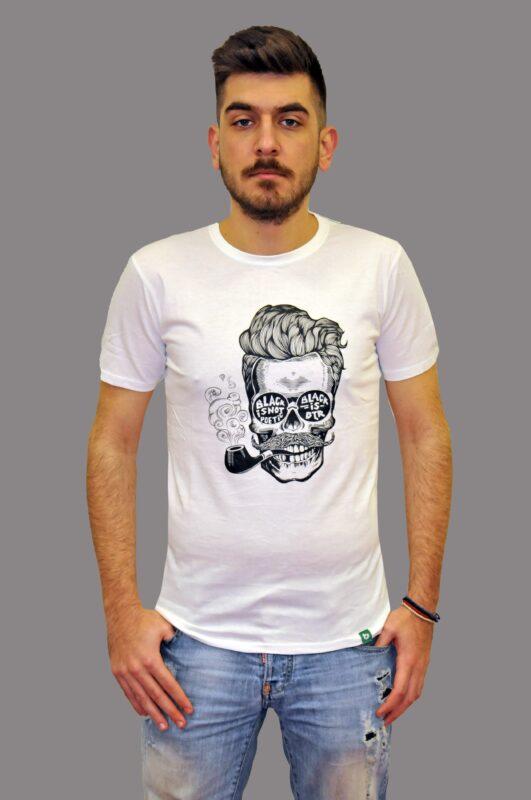 Λευκό βαμβακερό μπλουζάκι BATTERY
