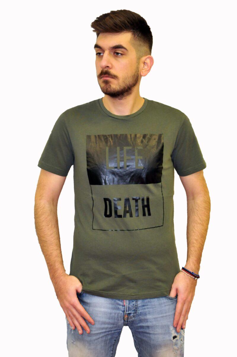 Χακί βαμβακερό μπλουζάκι BATTERY