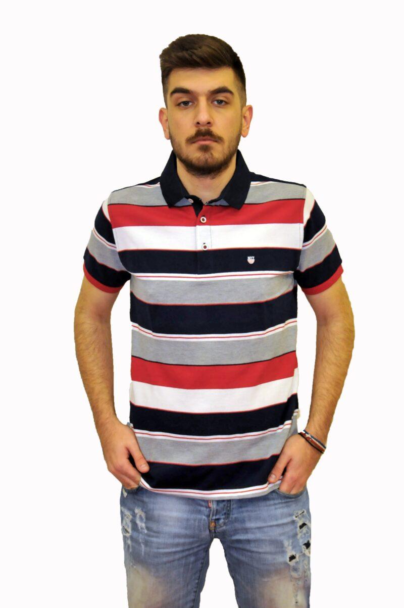 Κόκκινο ριγέ βαμβακερό μπλουζάκι NEW YORK TAILORS