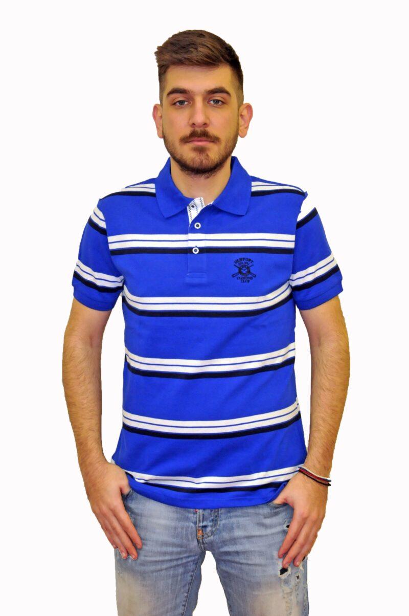 Μπλε ηλεκτρίκ ριγέ βαμβακερό μπλουζάκι NEW YORK TAILORS