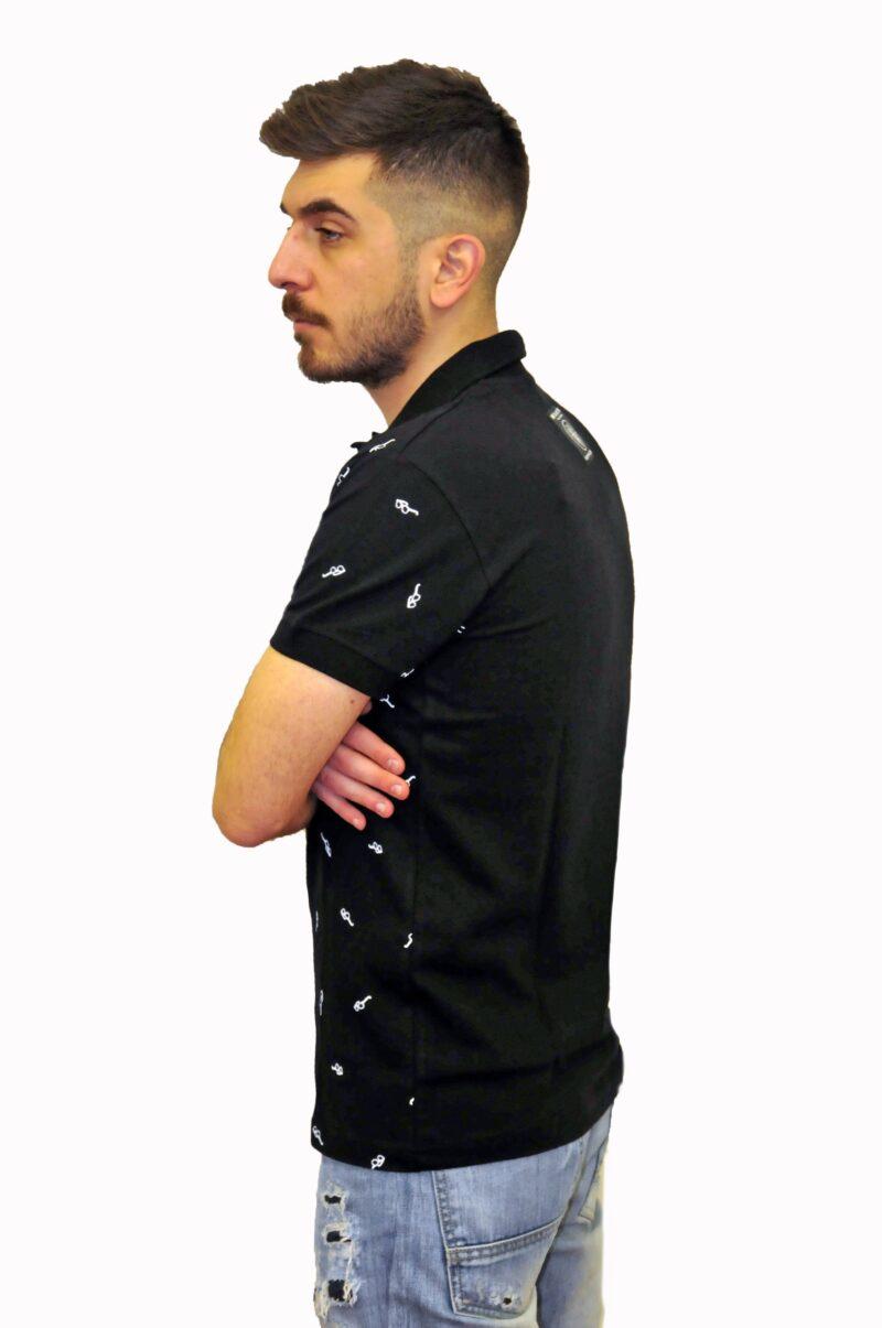 Μαύρο βαμβακερό μπλουζάκι MARTINI