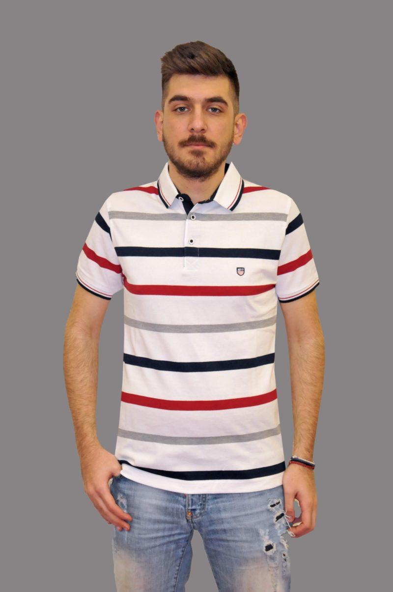 Λευκό ριγέ βαμβακερό μπλουζάκι NEW YORK TAILORS