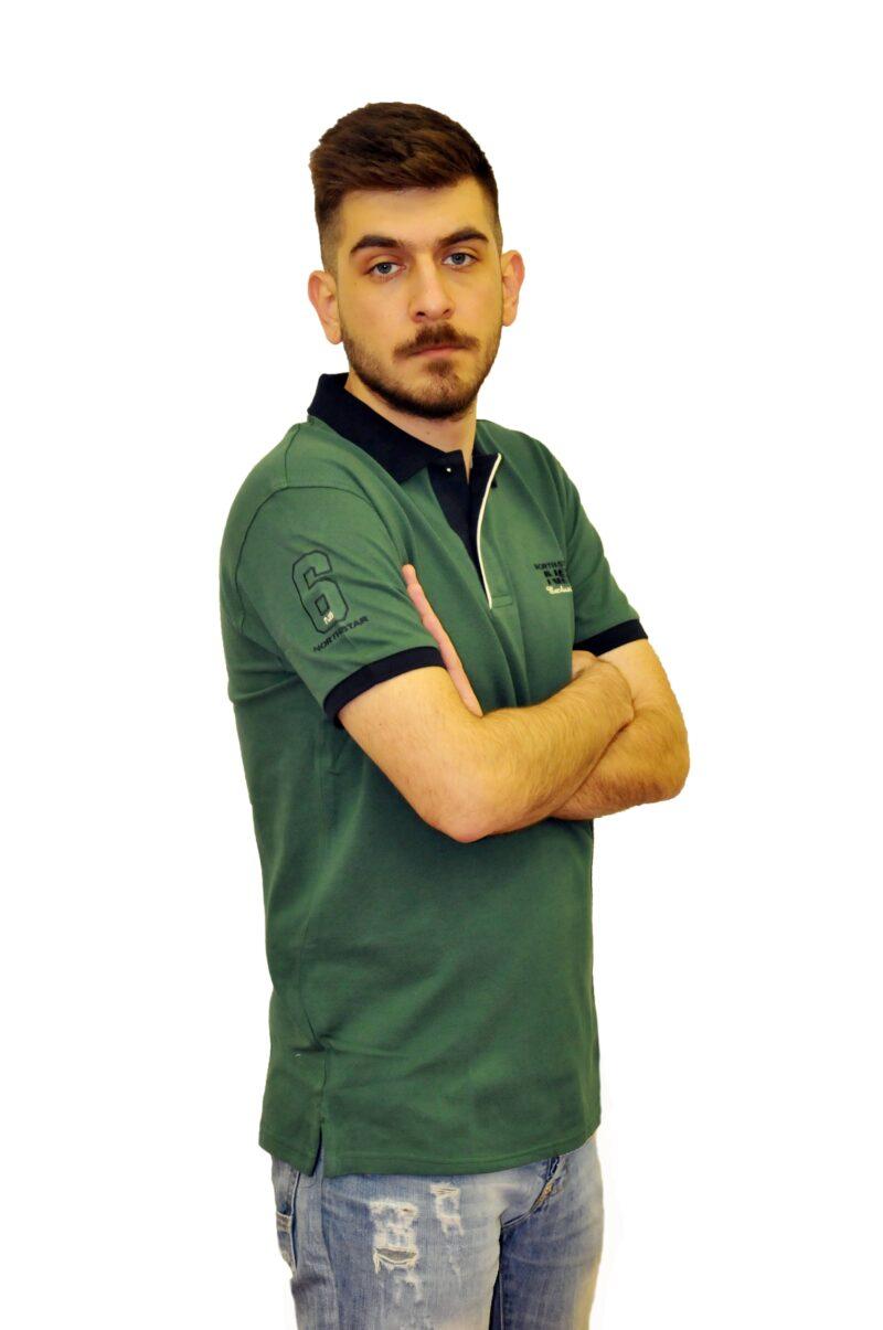 Πράσινη βαμβακερή μπλούζα NORTH STAR