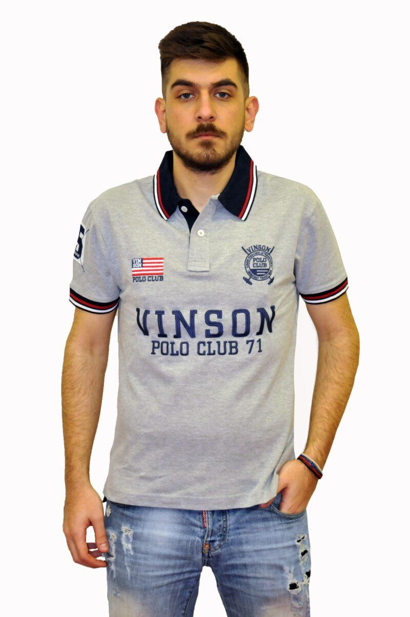 Γκρι βαμβακερό μπλουζάκι POLO CLUB VINSON