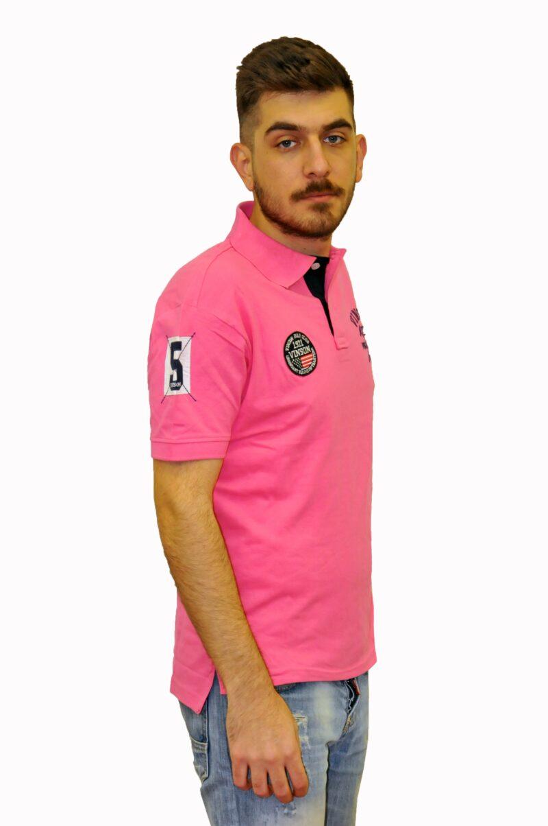 Ροζ βαμβακερό μπλουζάκι POLO CLUB VINSON