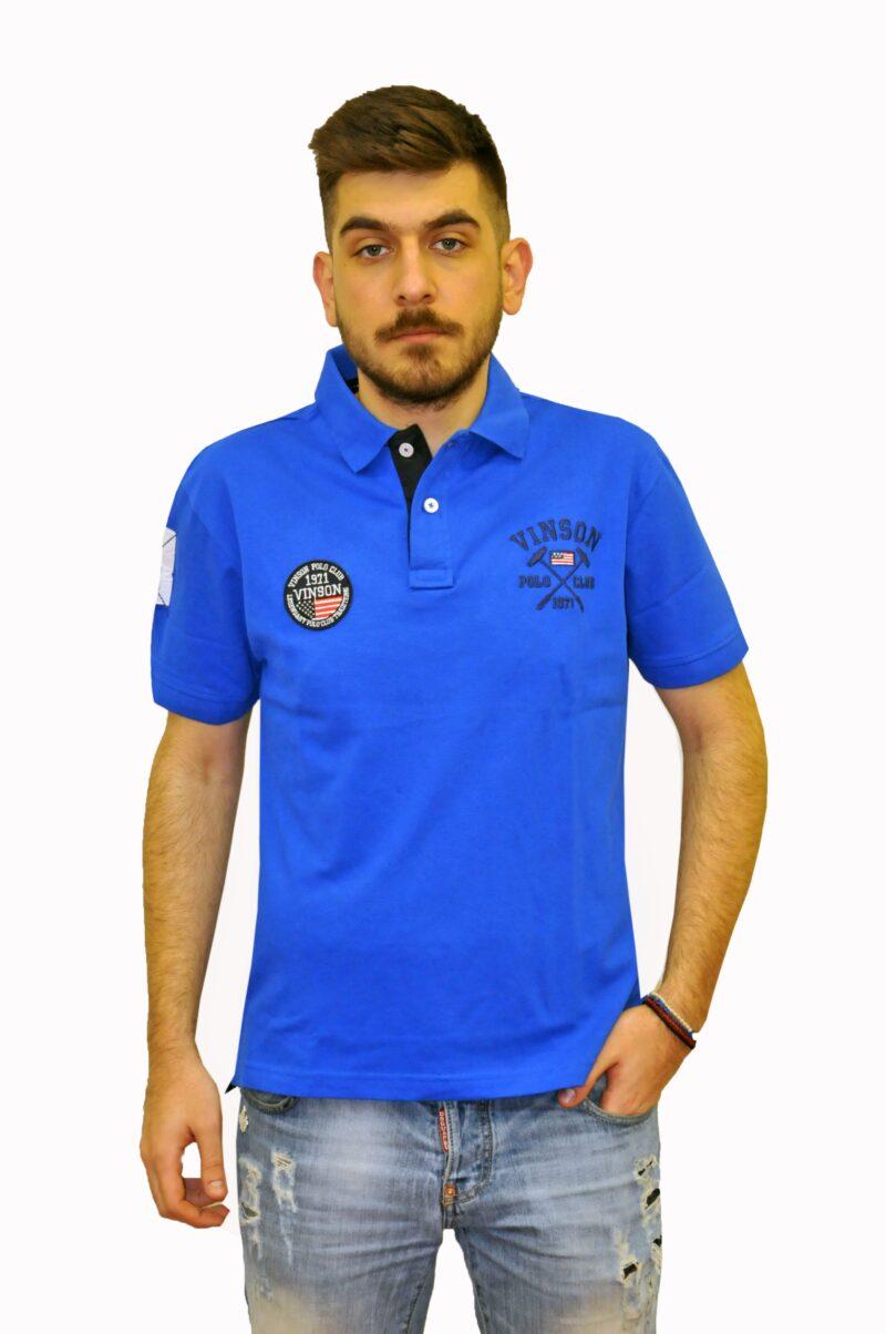Μπλε ρουά βαμβακερό μπλουζάκι POLO CLUB VINSON