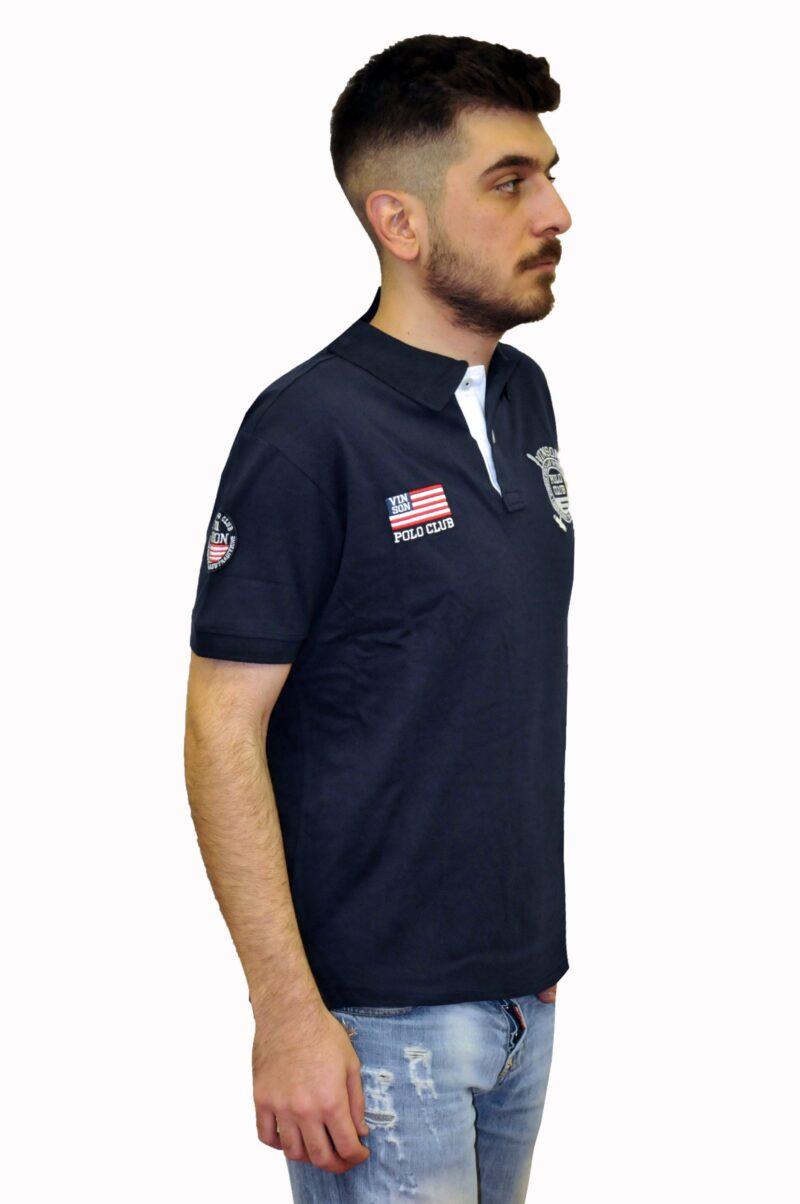 Μπλε σκούρο βαμβακερό μπλουζάκι POLO CLUB VINSON
