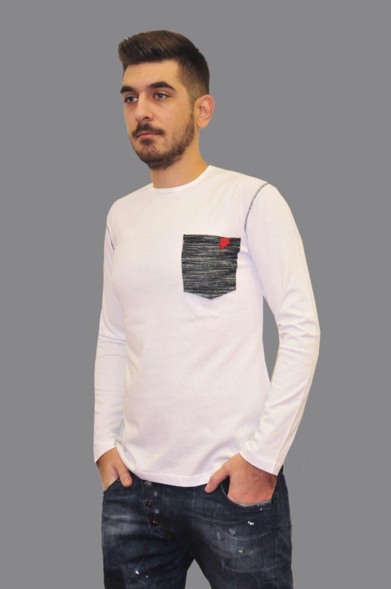 Λευκή βαμβακερή πλεκτή μπλούζα MARTINI