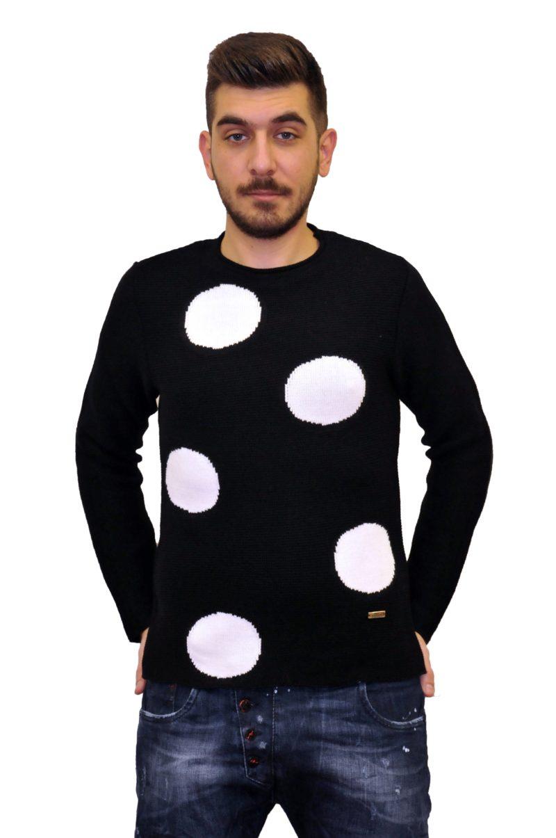 Μαύρη-λευκή πλεκτή μπλούζα MARTINI