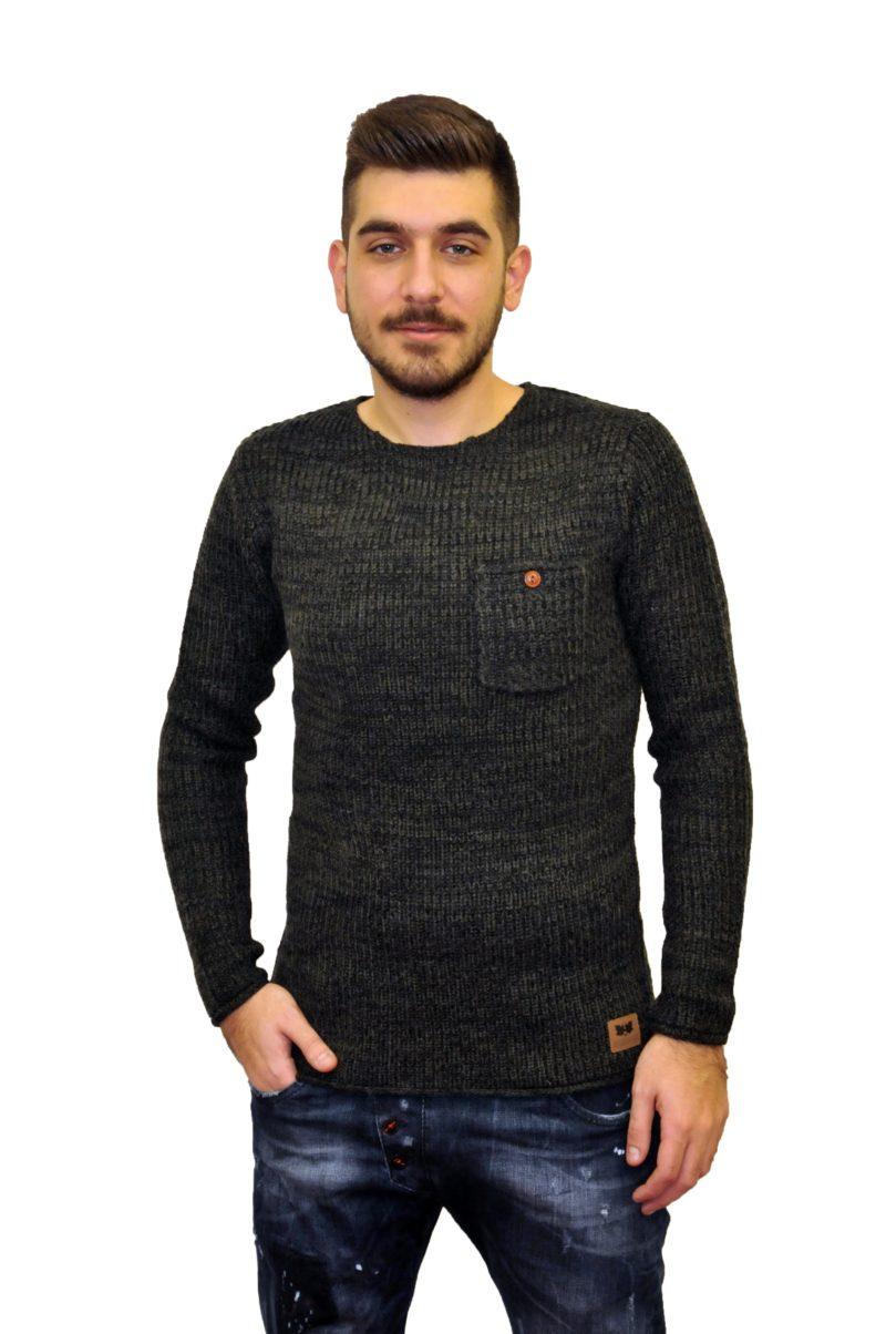Χακί πλεκτή μπλούζα GREENWOOD