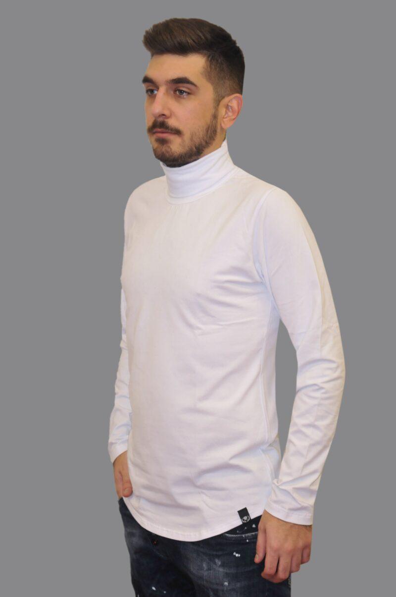 Λευκή πλεκτή βαμβακερή μπλούζα RECKLESS