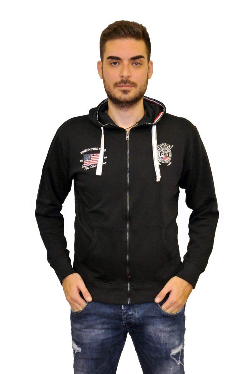 Μαύρη φούτερ ζακέτα POLO CLUB VINSON
