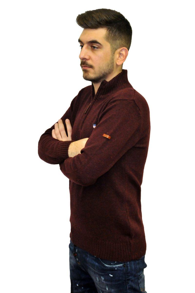 Μπορντό πλεκτή μπλούζα NEW YORK TAILORS