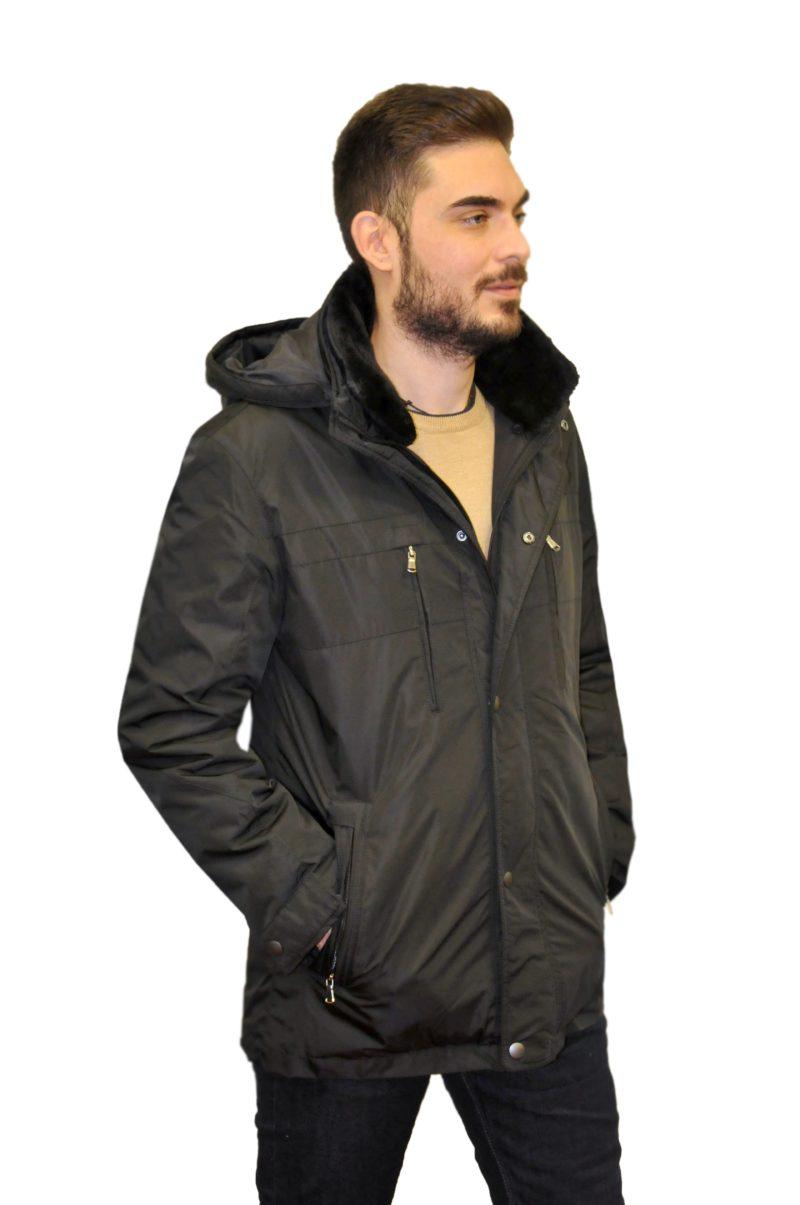 Μαύρο χειμερινό μπουφάν NEW YORK TAILORS