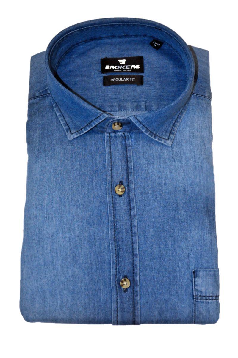 Μπλε τζιν βαμβακερό πουκάμισο BROKERS
