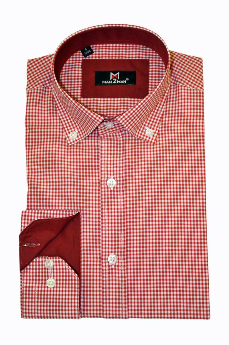 Κόκκινο καρό μακρυμάνικο πουκάμισο MAN2MAN