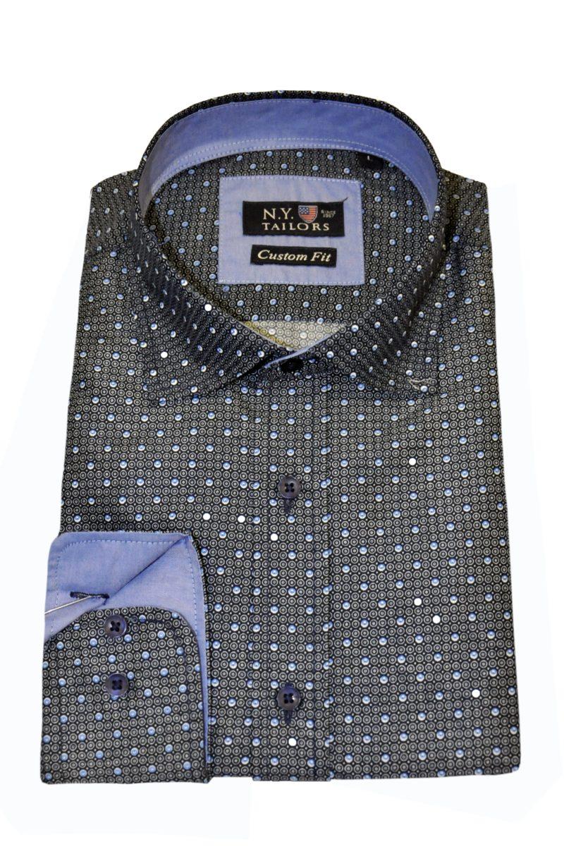 Μπλε εμπριμέ βαμβακερό πουκάμισο NEW YORK TAILORS