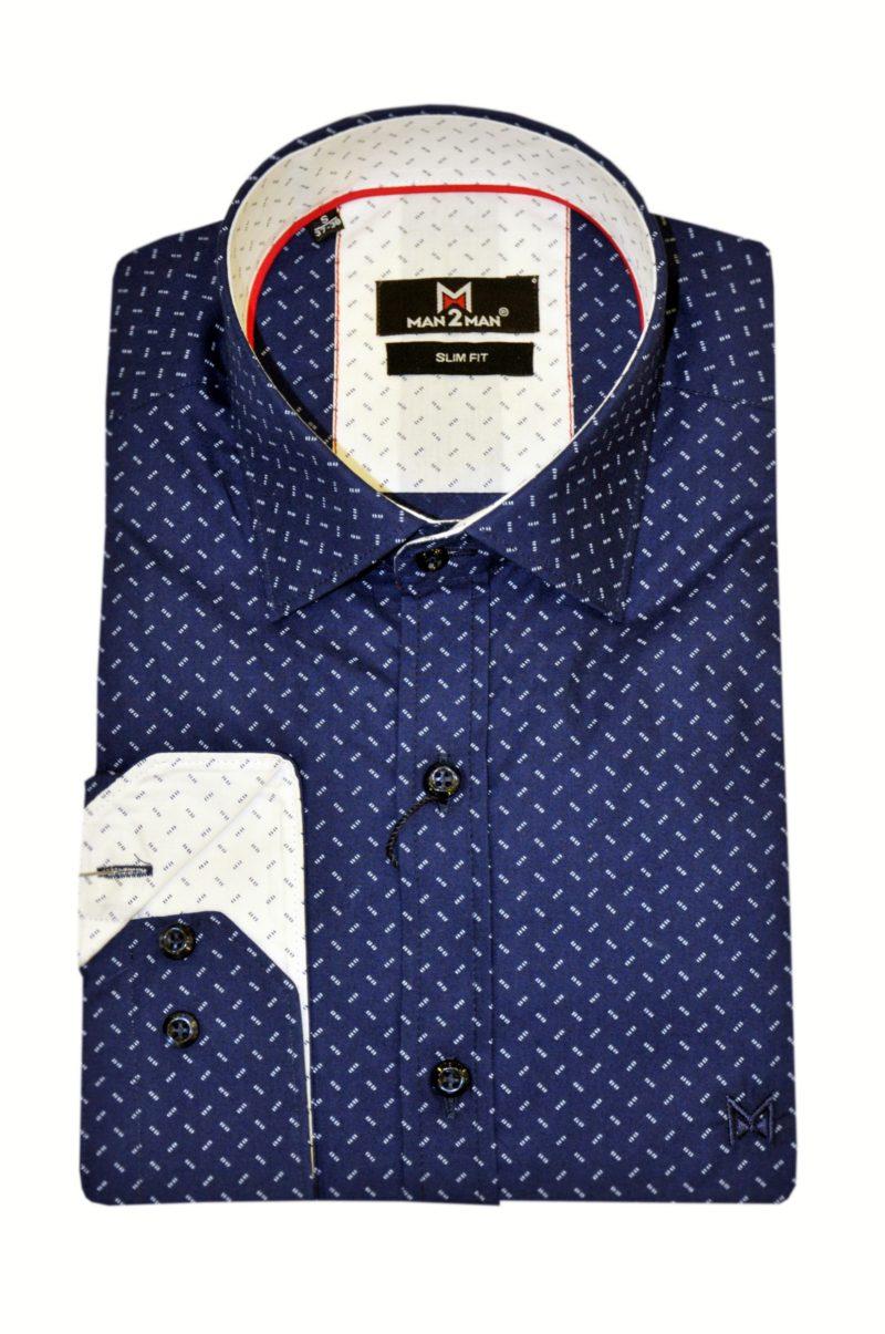 Μπλε-λευκό βαμβακερό εμπριμέ πουκάμισο MAN2MAN