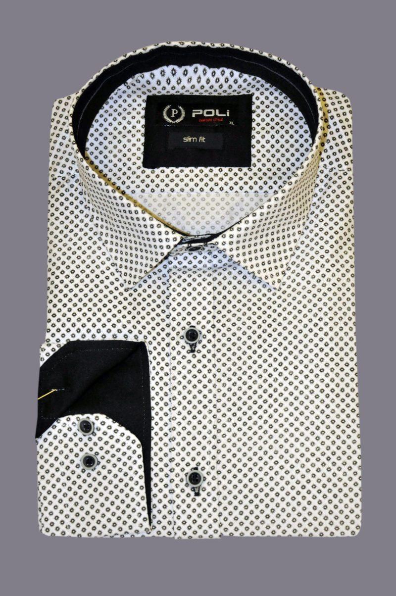 Λευκό εμπριμέ βαμβακερό πουκάμισο