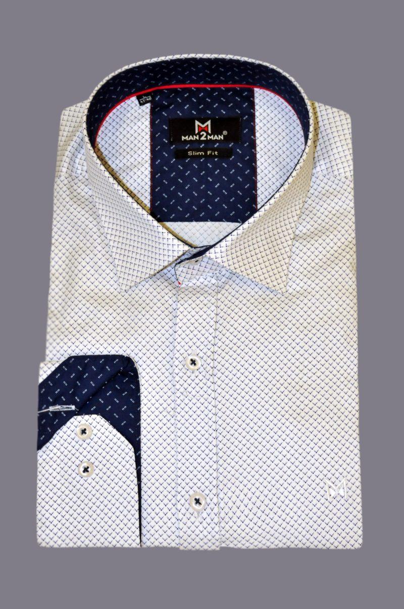 Λευκό εμπριμέ βαμβακερό πουκάμισο MAN2MAN