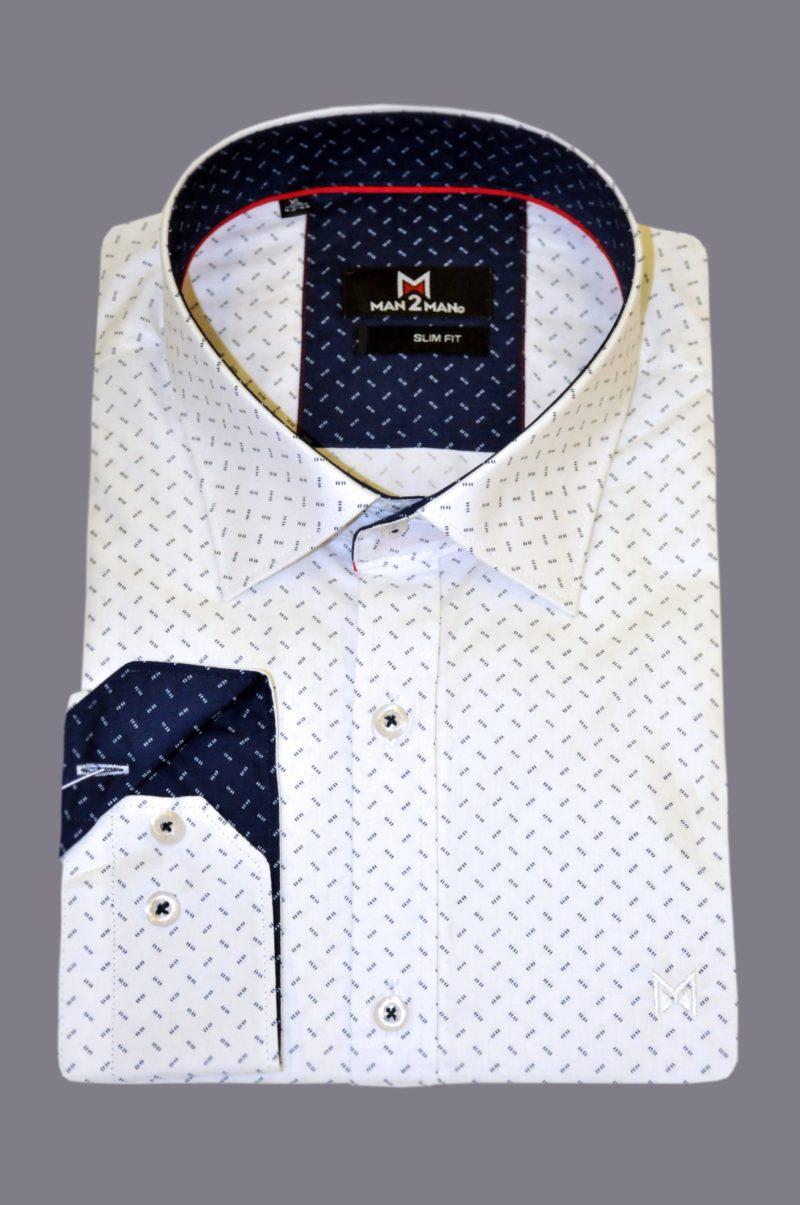 Λευκό-μπλε βαμβακερό εμπριμέ πουκάμισο MAN2MAN