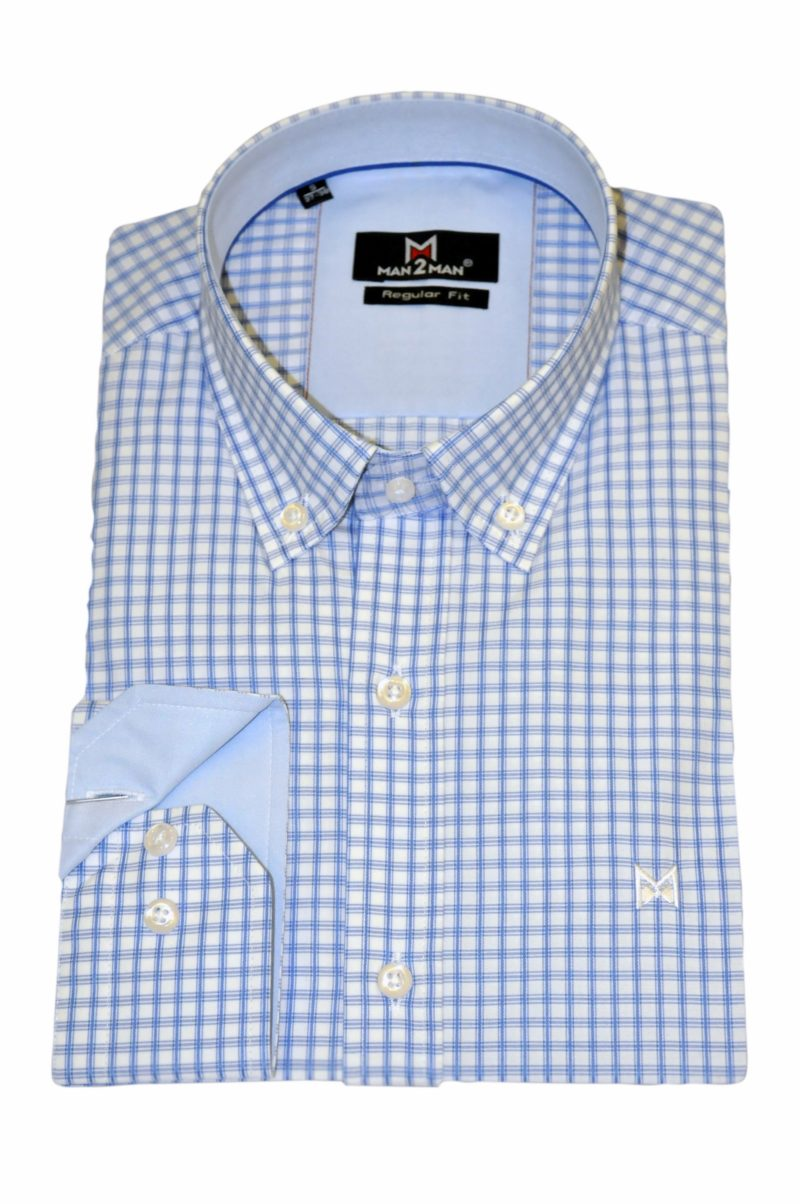 Γαλάζιο καρό βαμβακερό πουκάμισο MAN2MAN