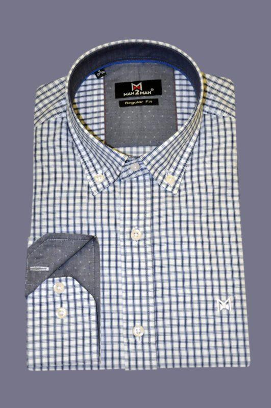 Μπλε σκούρο καρό βαμβακερό πουκάμισο MAN2MAN