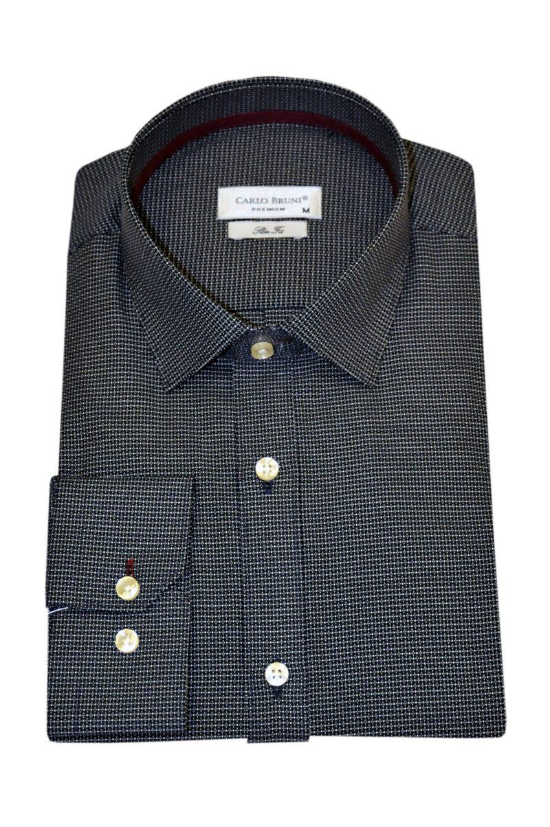 Μαύρο εμπριμέ βαμβακερό πουκάμισο LEXTON