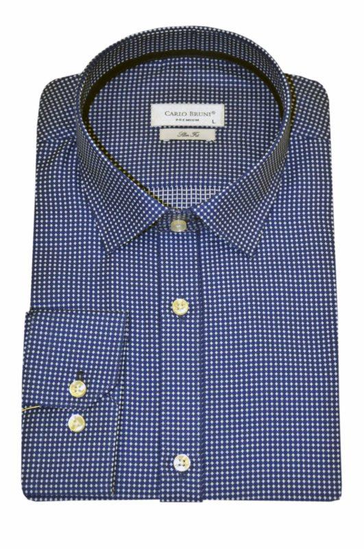 Μπλε εμπριμέ βαμβακερό πουκάμισο LEXTON
