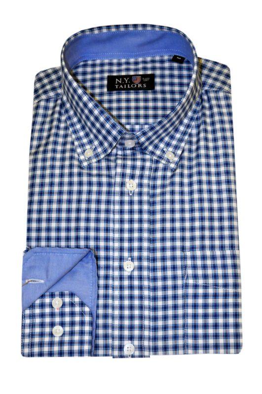 Μπλε καρό βαμβακερό πουκάμισο NEW YORK TAILORS