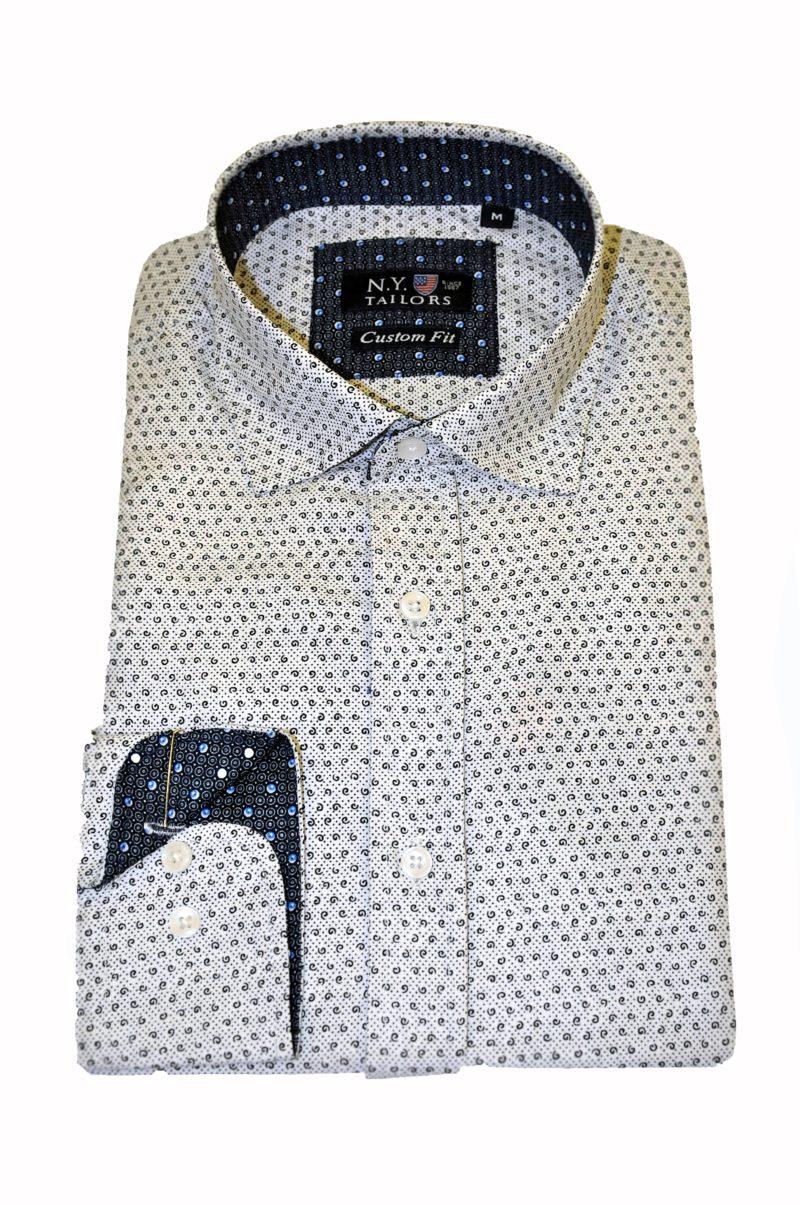 Λευκό εμπριμέ βαμβακερό πουκάμισο NEW YORK TAILORS