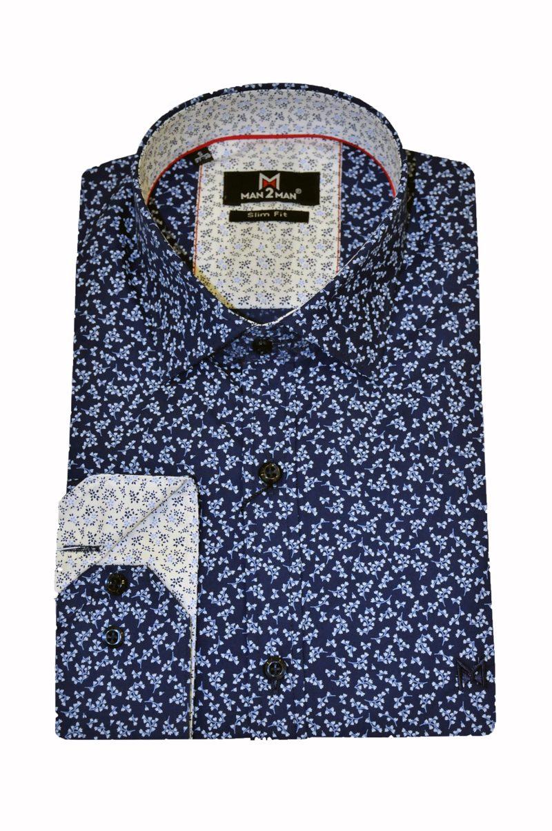 Μπλε εμπριμέ βαμβακερό πουκάμισο MAN2MAN