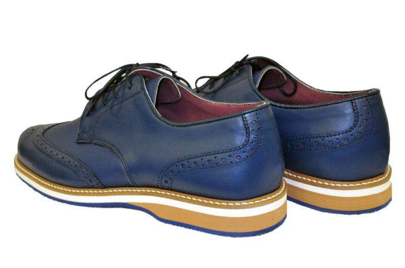 Μπλε δερμάτινα παπούτσια MAN2MAN
