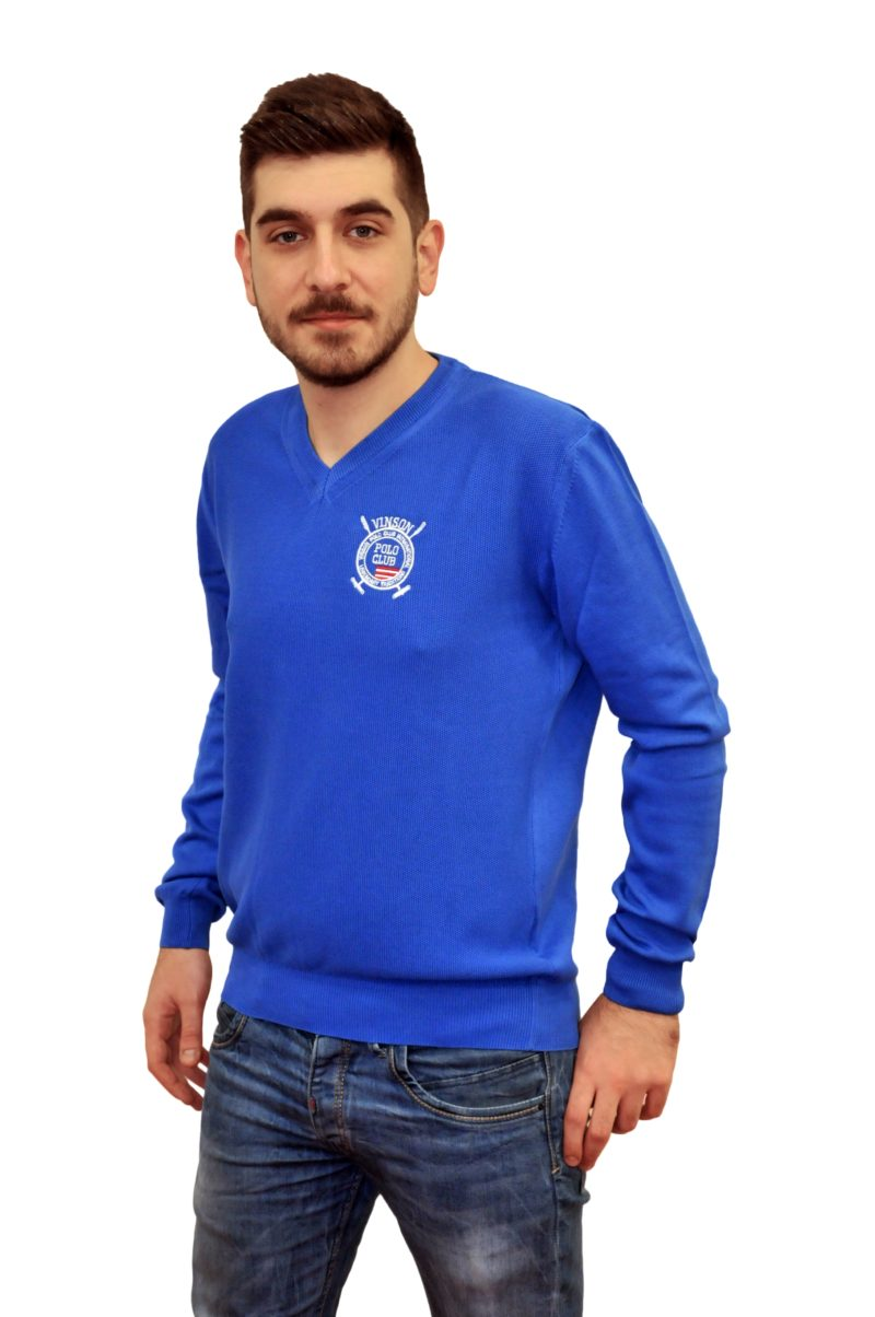 Μπλε ηλεκτρίκ πλεκτή μπλούζα POLO CLUB VINSON