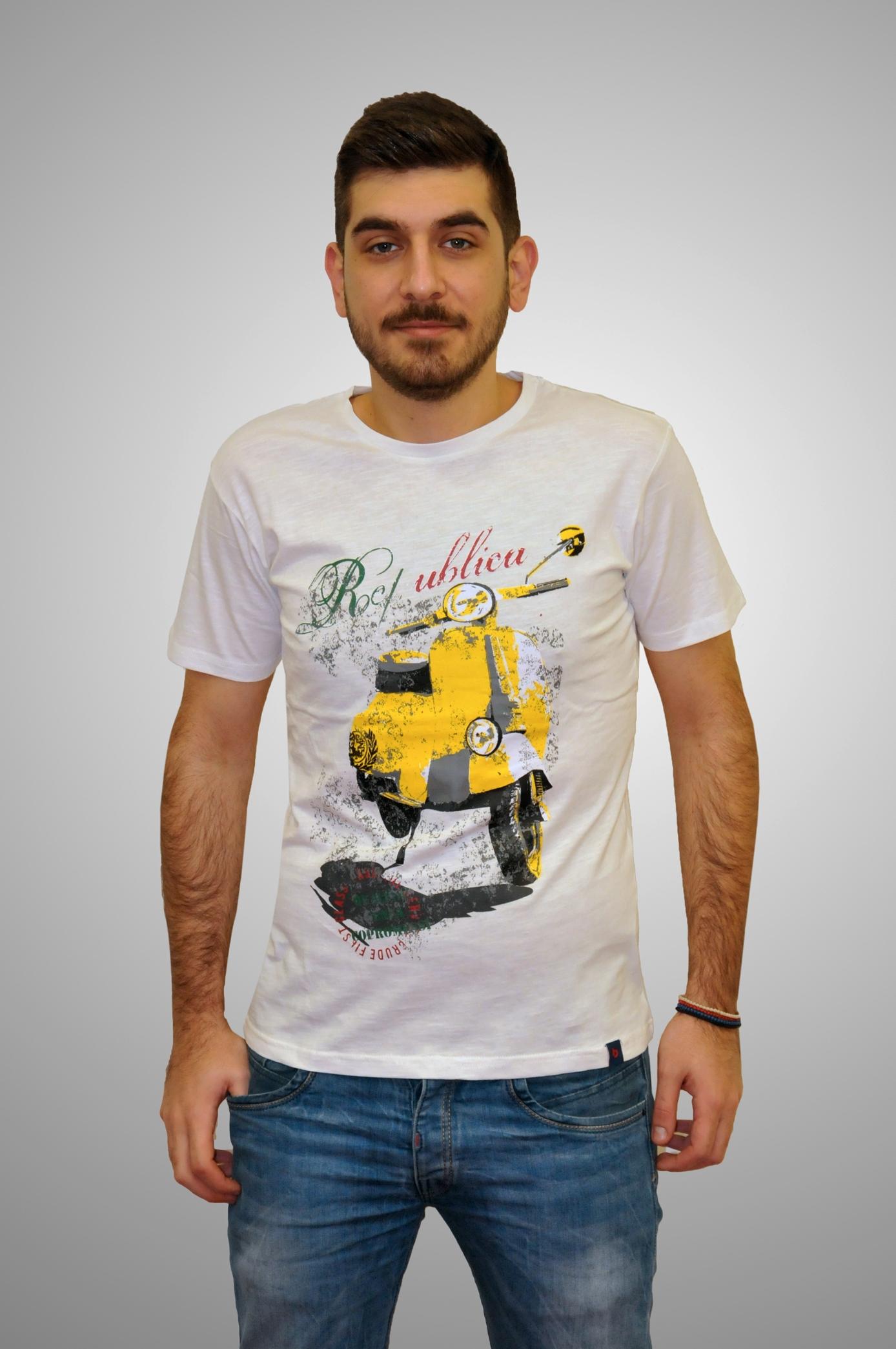 6ea8e14f31a7 Λευκό βαμβακερό κοντομάνικο μπλουζάκι BATTERY