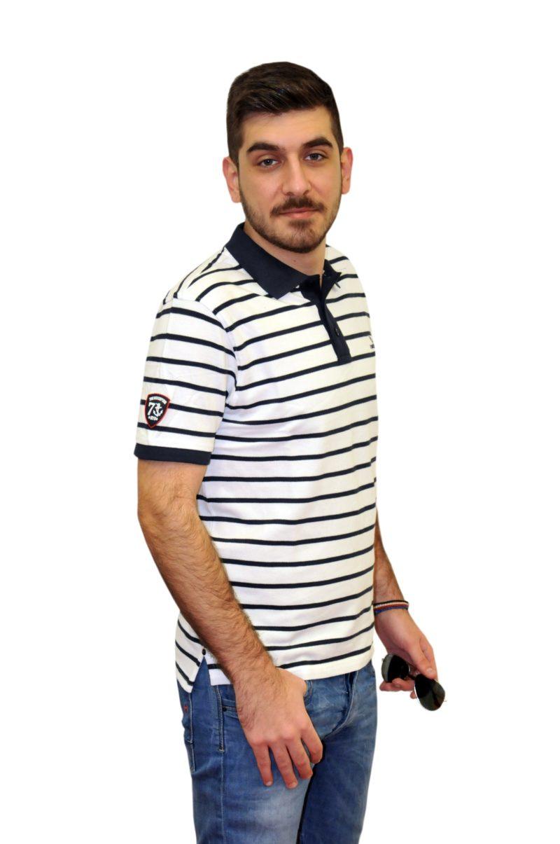 Λευκό ριγέ κοντομάνικο βαμβακερό μπλουζάκι BATTERY