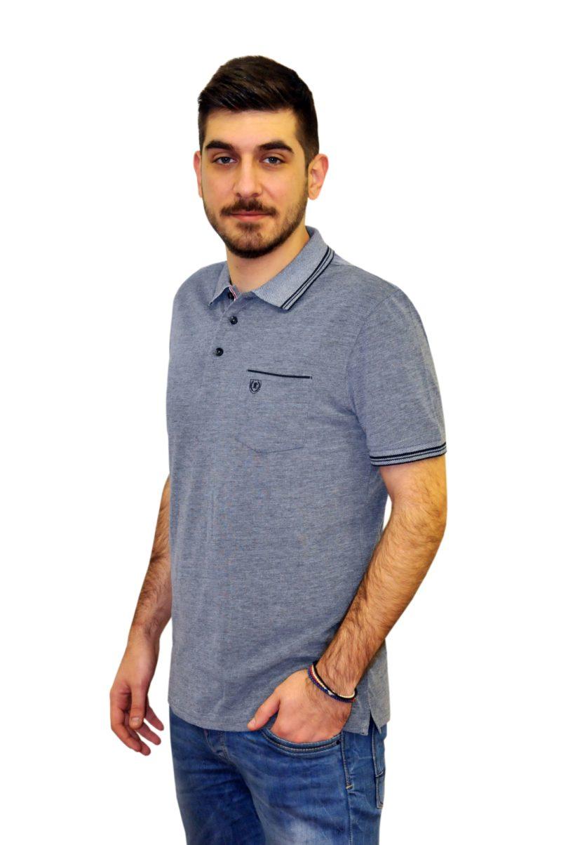 Μπλε σκούρο βαμβακερό κοντομάνικο μπλουζάκι PRE END
