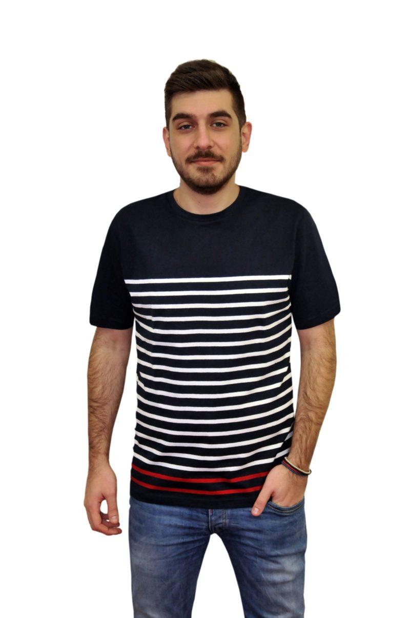 Μπλε σκούρο ριγέ κοντομάνικο βαμβακερό μπλουζάκι PRE END