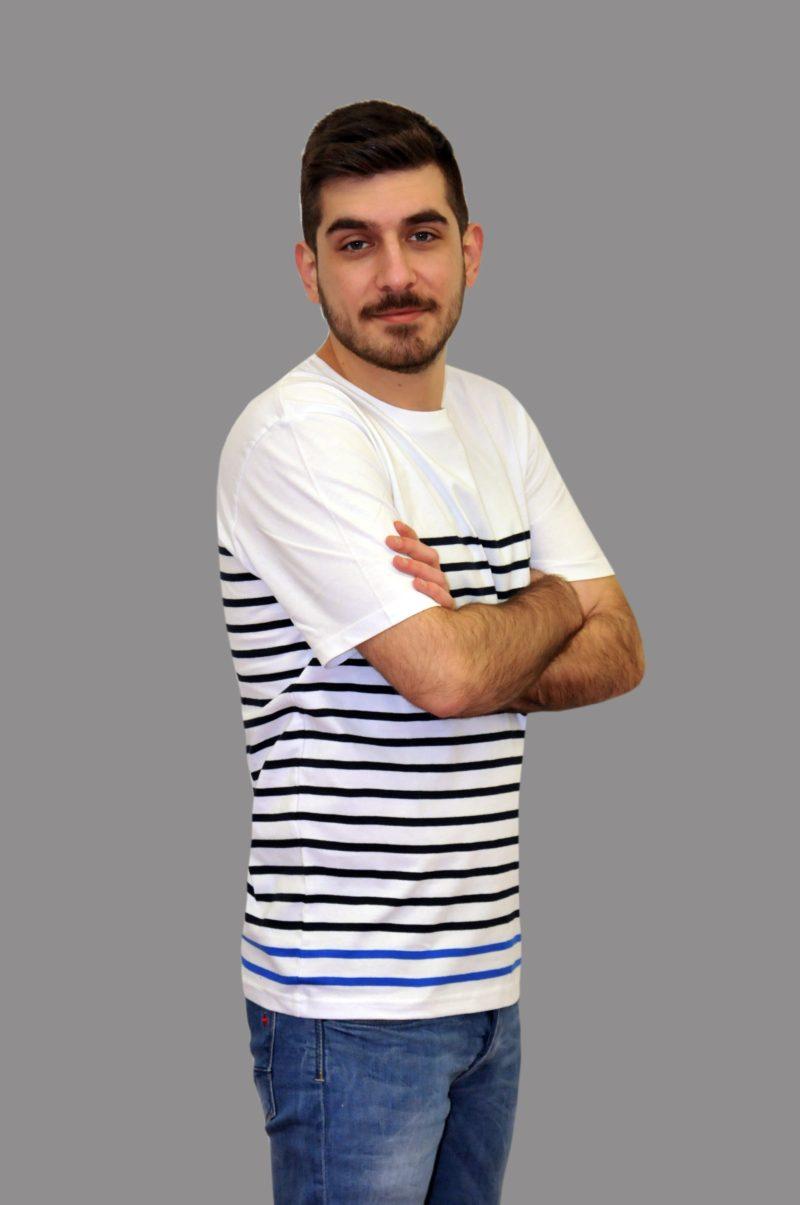 Λευκό ριγέ βαμβακερό κοντομάνικο μπλουζάκι PRE END